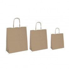 25 SHOPPERS CARTA BIOKRAFT 26X11X34,5CM NEUTRO CORDINO AVANA