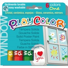 Tempera Solida Per Vetri Playcolor 6 Colori Brillanti In Stick