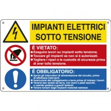 Cartello Alluminio 50X33,3Cm 'Impianti Elettrici / E' Vietato../ E' Obbligato'