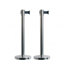 Set 2 Colonnine Segnapercorso Con Nastro Nero 210Cm Budget Retractable Securit