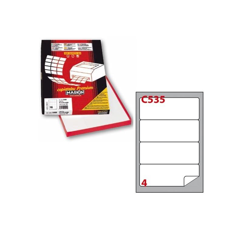 Etichetta Adesiva C/535 Bianca 100Fg A4 190X61Mm (4Et/Fg) Markin