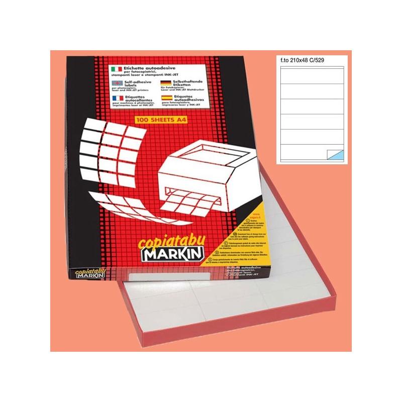 Etichetta Adesiva C/529 Bianca 100Fg A4 210X48Mm (6Et/Fg) Markin