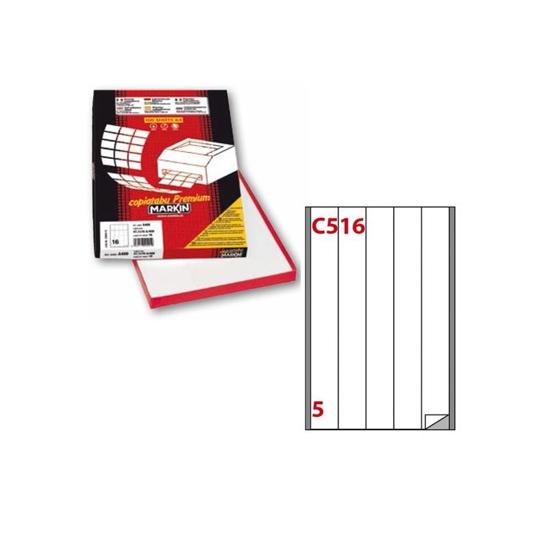Etichetta Adesiva C/516 Bianca 100Fg A4 40X297Mm (5Et/Fg) Markin