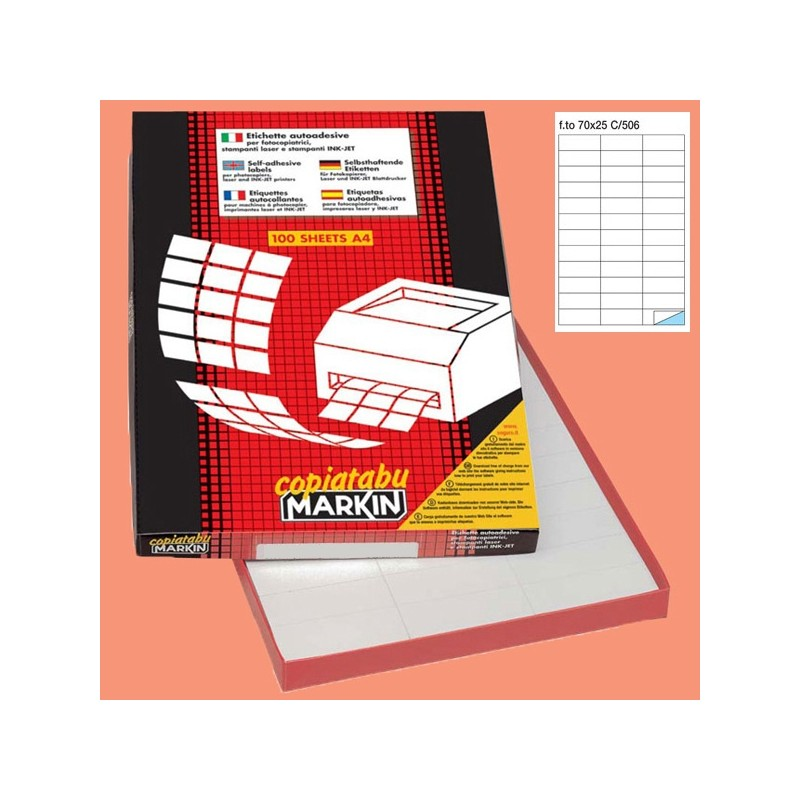 Etichetta Adesiva C/506 Bianca 100Fg A4 70X25Mm (36Et/Fg) Markin