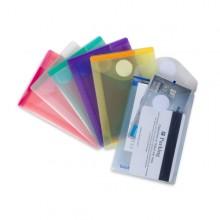 Set 6 Buste Pp Con Velcro F.To Verticali 8X11.5Cm Colori Assortiti
