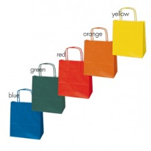 Blister 25 shoppers carta kraft 22X10X29cm twisted colori assortiti