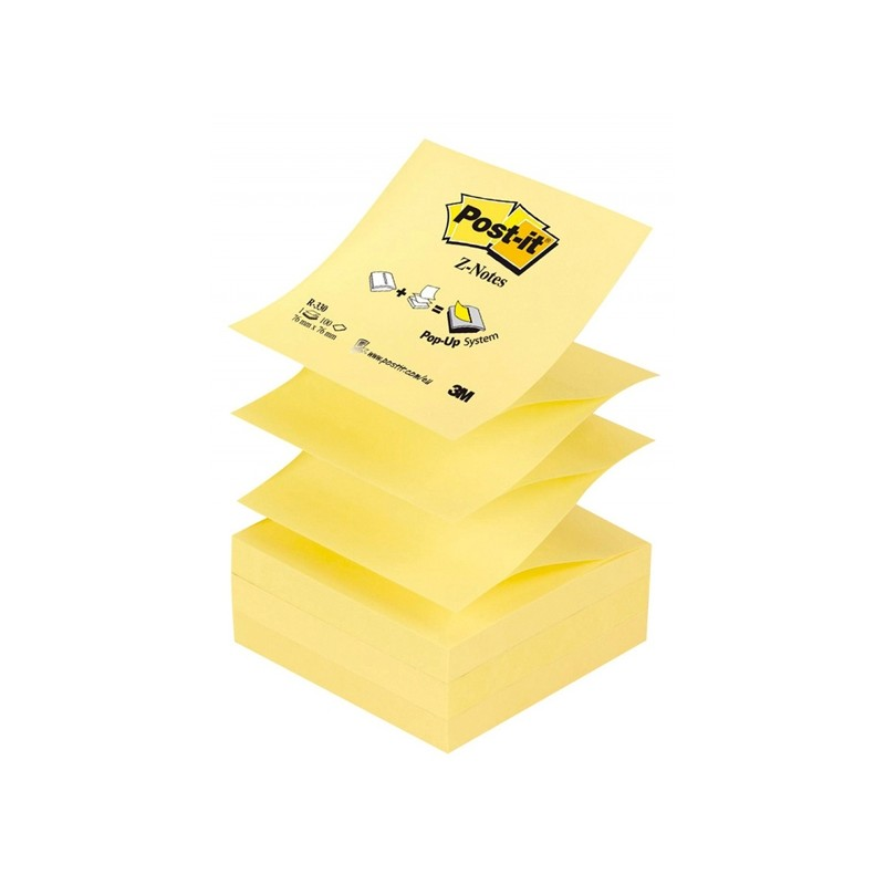 BLOCCO 100fg Post-it Z-Notes R330 Giallo Canary™ 76x76mm (conf. 12 )