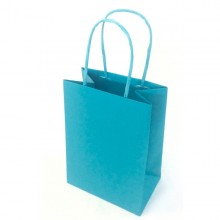 25 shoppers carta kraft 14x9x20cm twisted turchese