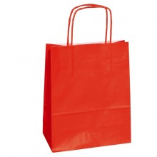 25 shoppers carta kraft 14x9x20cm twisted rosso