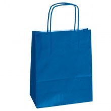 25 shoppers carta kraft 14x9x20cm twisted blu
