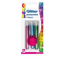Blister Glitter 3 Flaconi Grana Fine 12Ml Colori Assortiti Olografici Cwr