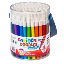 Barattolo 100 Pennarelli Fine Doodle Colori Assortiti Carioca