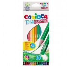 Astuccio 12 Matite Tita Cancellabile Colori Assortiti Carioca