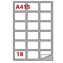 Etichetta Adesiva A/415 Bianca 100Fg A4 63,5X46,6Mm (18Eti/Fg) Markin