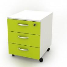 Cassettiera 3 Cass. Con Ruote Bianco/Verde - Rainbow