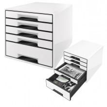 Cassettiera Drawer Cabinet Cube 5 Bianco Leitz