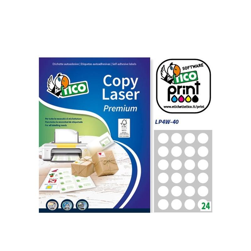 Etichetta Adesiva Lp4W Bianca 100Fg A4 Tonda Diam40Mm (24Et/Fg) Laser Tico