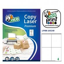 Etichetta Adesiva Lp4W Bianca 100Fg A4 105X140Mm (4Et/Fg) Laser Tico