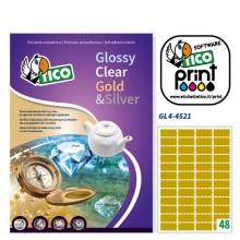Etichetta Adesiva Gl4 Ovale Oro Satinata 100Fg A4 45X21Mm (48Et/Fg) Tico