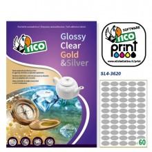 Etichetta Adesiva Sl4 Ovale Argento Satinata 100Fg A4 36X20Mm (60Et/Fg) Tico
