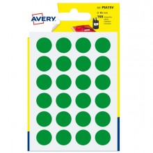 Blister 168 Etichetta Adesiva Tonda Psa Verde Diam15Mm Avery