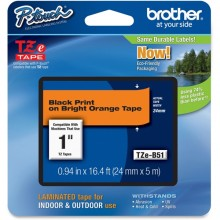 Nastro Brother Tzeb51 24Mmx8Mt Nero/Arancio Fluo