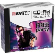 Cd-Rw Emtec Rw 80Min/700Mb 4-12X Jewel Case (Kit 5Pz)