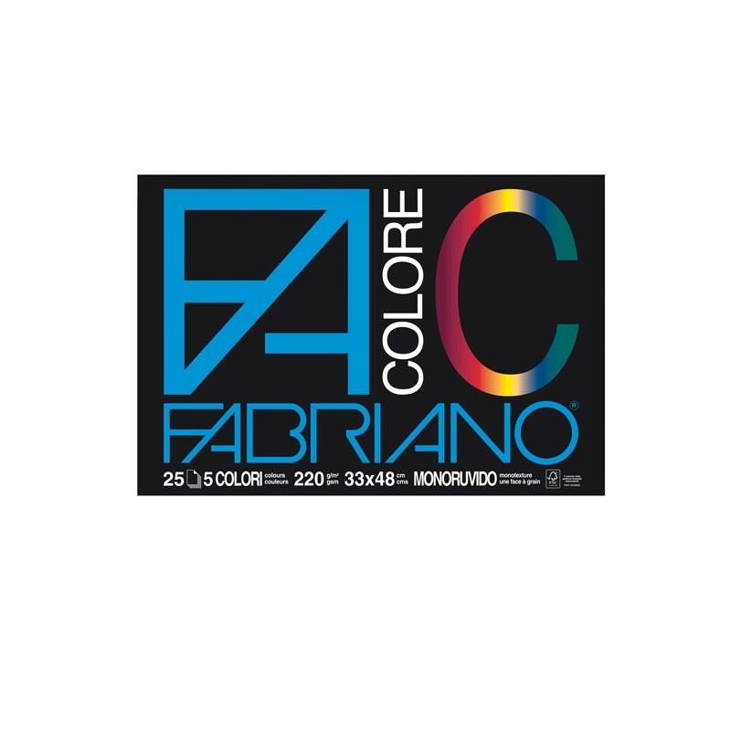 BLOCCO FACOLORE (33X48CM) 25FG 220GR 5 COLORI FABRIANO (conf. 5 )