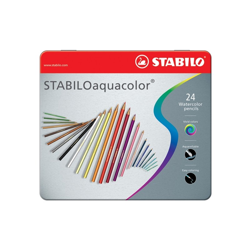 Astuccio Metallo 24 Pastelli Stabilo Aquacolor 1624