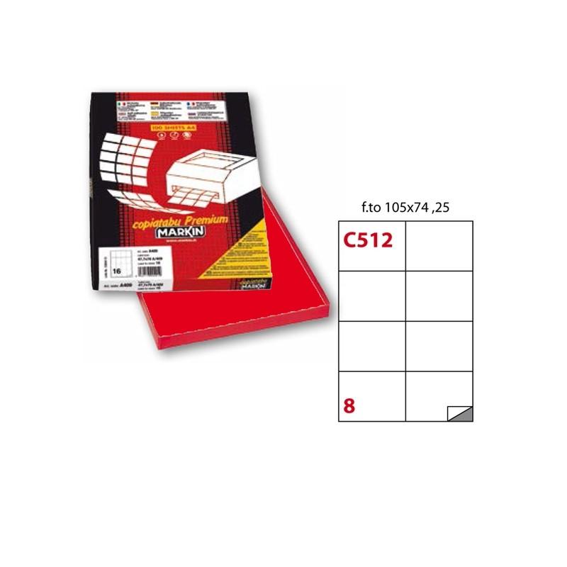 Etichetta Adesiva C/512 Rosso 100Fg A4 105X74Mm (8Et/Fg) Markin