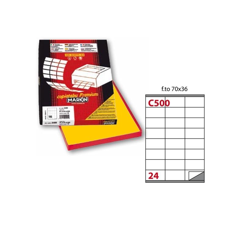 Etichetta Adesiva C/500 Giallo 100Fg A4 70X36Mm (24Et/Fg) Markin