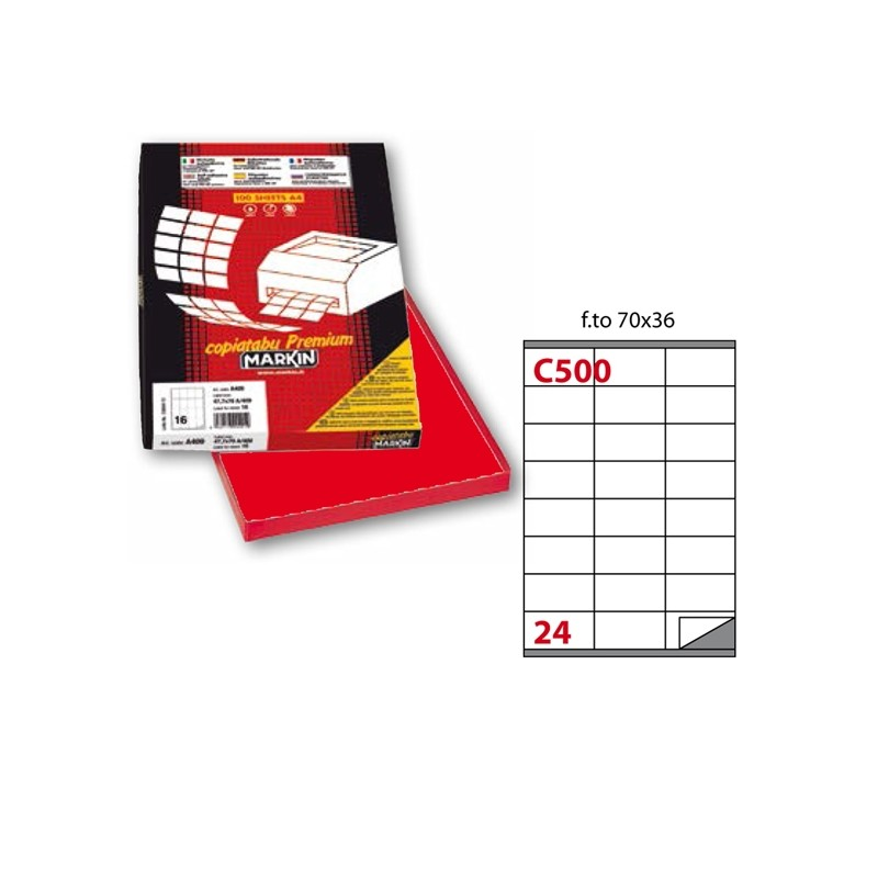 Etichetta Adesiva C/500 Rosso 100Fg A4 70X36Mm (24Et/Fg) Markin