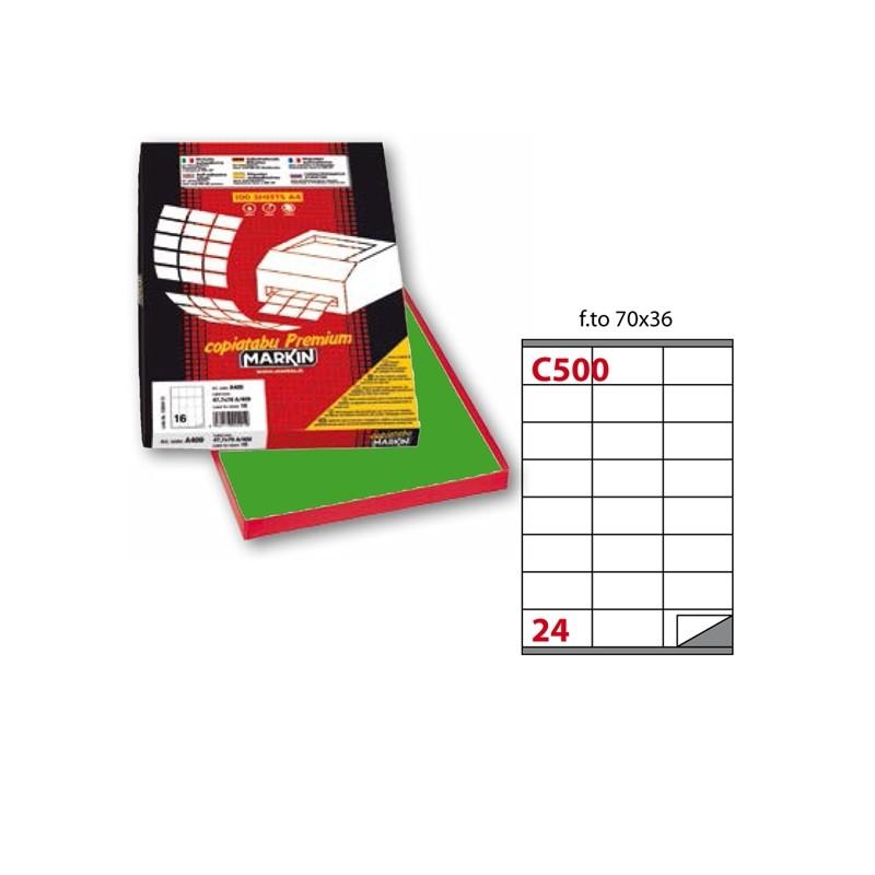 Etichetta Adesiva C/500 Verde 100Fg A4 70X36Mm (24Et/Fg) Markin