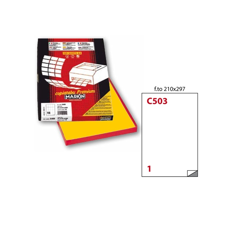Etichetta Adesiva C/503 Giallo 100Fg A4 210X297Mm (1Et/Fg) Markin