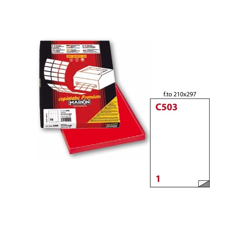 Etichetta Adesiva C/503 Rosso 100Fg A4 210X297Mm (1Et/Fg) Markin