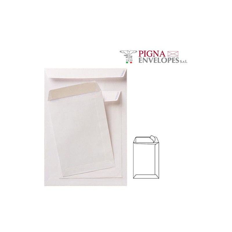 500 Buste A Sacco Bianche 230X330Mm 80Gr Adesiva Competitor Pigna