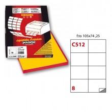 Etichetta Adesiva C/512 Giallo 100Fg A4 105X74Mm (8Et/Fg) Markin