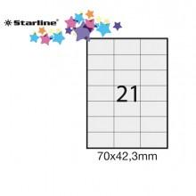 Etichetta Adesiva Bianca 100Fg A4 70X42,3Mm (21Et/Fg) Starline