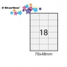 Etichetta Adesiva Bianca 100Fg A4 70X48Mm (18Et/Fg) Starline