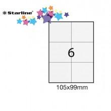 Etichetta Adesiva Bianca 100Fg A4 105X99Mm (6Et/Fg) Starline