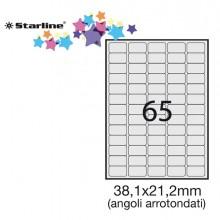 Etichetta Adesiva Bianca 100Fg A4 38,1X21,2Mm (65Et/Fg) Angoli Tondi Starline