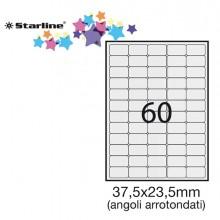 Etichetta Adesiva Bianca 100Fg A4 37,5X23,5Mm (60Et/Fg) Angoli Tondi Starline