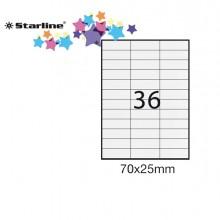 Etichetta Adesiva Bianca 100Fg A4 70X25Mm (36Et/Fg) Starline