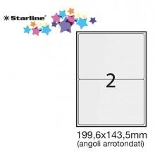 Etichetta Adesiva Bianca 100Fg A4 199,6X143,5Mm (2Et/Fg) Angoli Tondi Starline