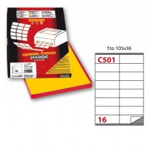 Etichetta Adesiva C/501 Giallo 100Fg A4 105X36Mm (16Et/Fg) Markin