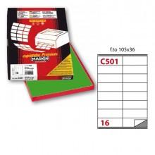 Etichetta Adesiva C/501 Verde 100Fg A4 105X36Mm (16Et/Fg) Markin