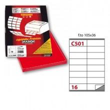 Etichetta Adesiva C/501 Rosso 100Fg A4 105X36Mm (16Et/Fg) Markin