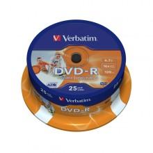 Scatola 25 Dvd-R Spindle 16X 4.7Gb 120Min. Stampabile Wide Photo Inkjet