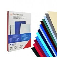 100 Copertine Leathergrain 250Gr A4 Blu Goffrato