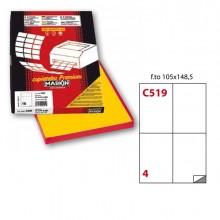 Etichetta Adesiva C/519 Giallo 100Fg A4 105X148Mm (4Et/Fg) Markin